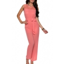 Lace Crochet Sleeveless Round Neck Jumpsuits with Knotted Waist