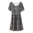 Mono Curve Pattern Print Cutout Back Short Sleeve A-line Dress