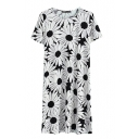 White Floral Print Short Sleeve Fitted Dress