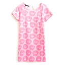Cute Pink Background Pattern Print Short Sleeve Dress