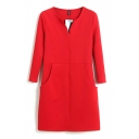 Double Pockets Front Zipper Fly 3/4 Sleeve Plain Office Lady Style Dress