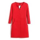Double Pockets Front Zipper Fly 3/4 Sleeve Plain Office Lady Style Dress