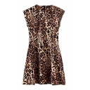 High Waist Slim Leopard Sleeveless Dress