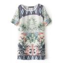 Tropical Plants Print Short Sleeve Shift Dress