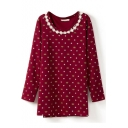 Imperial Crown Lace Crochet Panel Long Sleeve Shift Dress