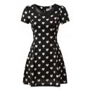 Heart Print PU Insert Short Sleeve Lapel Dress