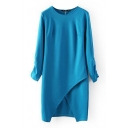 Plain 3/4 Sleeve Cutout Split Front Round Neck Dress
