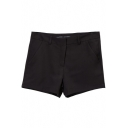 Black Plain Laid Back Pockets Hot Pants