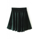 Dark Green Plain Ruffle Hem Velvet Skirt
