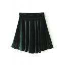 Dark Green Plain Ruffle Hem Velvet Skirt