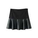 Black PU Panel Ruffle Hem Skater Skirt