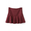 Burgundy Heart Pattern Ruffle Hem Pleated Skirt