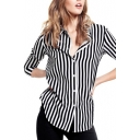 Stripe Long Sleeve Lapel Chiffon Blouse