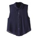 Plain Sleeveless Cotton Crop Shirt