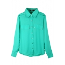 Green Long Sleeve Buttons Fake Pockets Chiffon Blouse