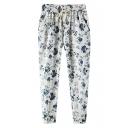 Blue Floral Print Drawstring Waist Harem Pants