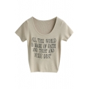 Apricot Short Sleeve Letters Slim Knitting Sweater