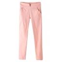 Pink Plain Elastic Skinny Pencil Pants