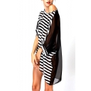Black Stripe Round Neck 3/4 Sleeve Sheer Sarong