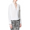 White Long Sleeve High Low Hem Twist-Front Blouse