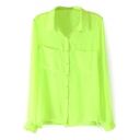 Green Double Pocket Long Sleeve Chiffon Blouse