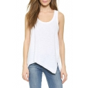 White Plain Asymmetric Hen Racer Back Tank