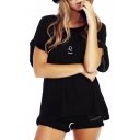 Black Short Sleeve Roll Cuff Leo T-Shirt