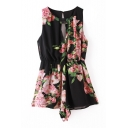 Black Round Neck Open Front Floral Print Rompers