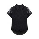 Black Short Sleeve High Low Hem Lace Crochet Chiffon Blouse