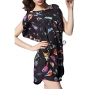 Black Background Birds Print Short Split Sleeve Mini Dress
