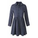 Blue Print Lapel Long Sleeve Dress