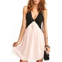 Color Block V-Neck Sleeveless Cutout Dress
