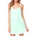 Green Daisy Spaghetti Strap Layered Dress