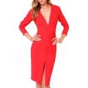 Red V-Neck Long Sleeve Split Mid Dress
