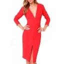 Red V-Neck Long Sleeve Split Mid Dress