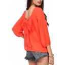 Orange 3/4 Sleeve Bow Back Chiffon Blouse