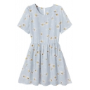 Daisy Print Round Neck Short Sleeve Pleated Dress