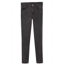 Gray Elastic Zipper Fly Pockets Detail Fitted Jeans