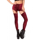 Suspender Button Red Velvet Geo-Tribal Print Leggings