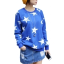 Blue Star Print Raglan Sleeve Sweatshirt with Velvet Inside