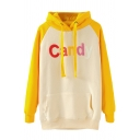 Yellow Letter Panel Raglan Sleeve Drawstring Hoodie