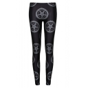 Black High Waist Print Elastic Skinny Leggings