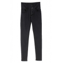 Elastic Black Four Button Fly Denim Pants
