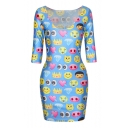 Blue Sexy Emoji Print Half Sleeve Bodycon Dress