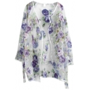 Organza Floral Pattern Sheer Open Front Long Sleeve Coat
