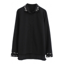 Plain Beaded High Low Split Hem Long Sleeve Shirt