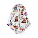 Cartoon Character Print Point Collar Long Sleeve Shirt