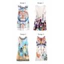 Cartoon Scenery Print Slim Tanks Dress