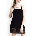 Summer Plain Sexy Lace Inserted Mini Cami Dress