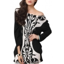 Long Sleeve Abstract Flower&Pattern Print Color Block Style Smock Blouse